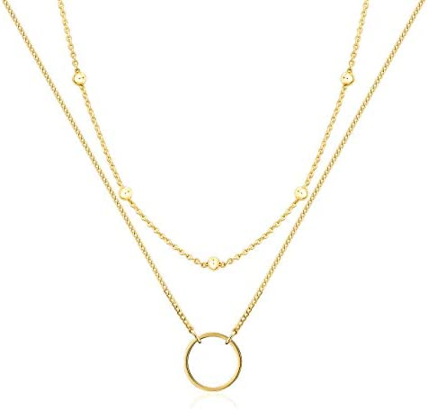 Layered 18k Gold Plated Necklaces for Women Multilayer Coin Medallion Pendant Necklace Adjustable product image