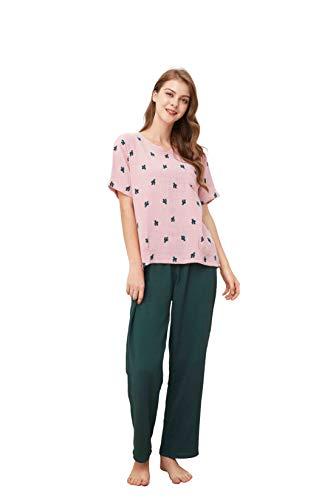 WORW Womens Soft Cotton Pajama Set (Pink-Short, Large)