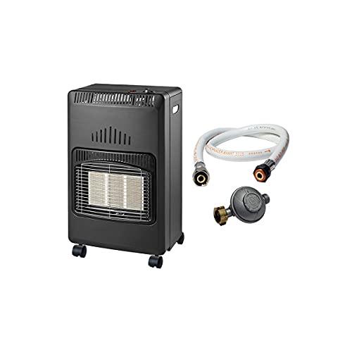 Poele à gaz Infrarouge 4200W Nova KIT Chauffage d'appoint Piezo Volume 120 m3 + tuyau vissable + détendeur butane