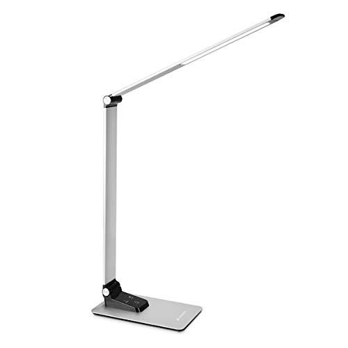 Navaris LED Tischlampe aus Aluminium - 9W 450 Lumen dimmbar 3 Farbtemperaturen - Schreibtischlampe mit USB Port - Flexible Tischleuchte in Silber