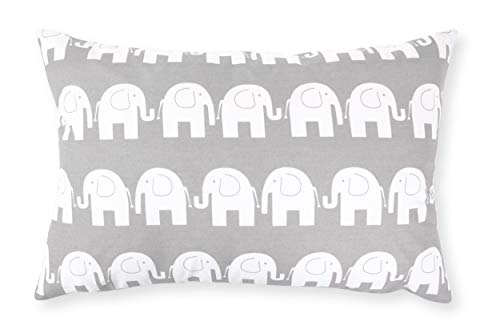 Amilian Handcrafted Decorative Elephant Print Grey 100% Cotton Premium Quality Durable Throw Cushion Cover Pillowcase Only 40 cm x 60 cm
