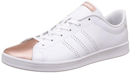adidas Damen Advantage Clean Qt W Sneaker Low Hals, Elfenbein (Ftwbla/ftwbla/cobmet), 40 2/3 EU