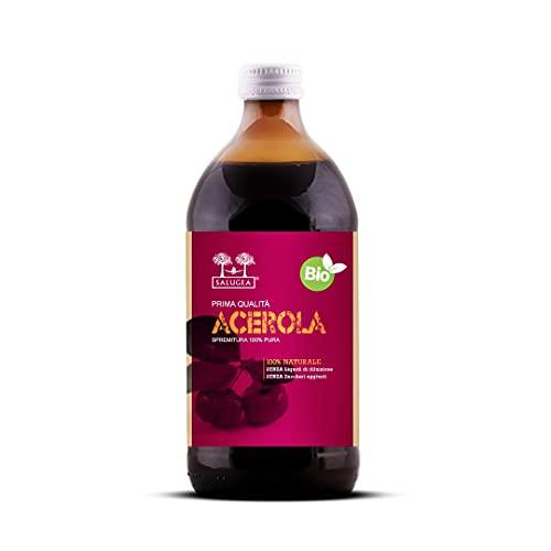 SUCCO DI ACEROLA BIO Salugea - Integratore fluidificante per le vie respiratorie, antiossidante, diuretico e depurante - 500 ml - Flacone in vetro scuro farmaceutico