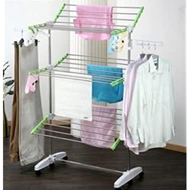!iT Jeans High Capacity 3-Tier Premium Foldable Clothes Drying Rack - Stainless Steel - 8 Wheels- Heavy Duty Large Size - Indoor & Outdoor