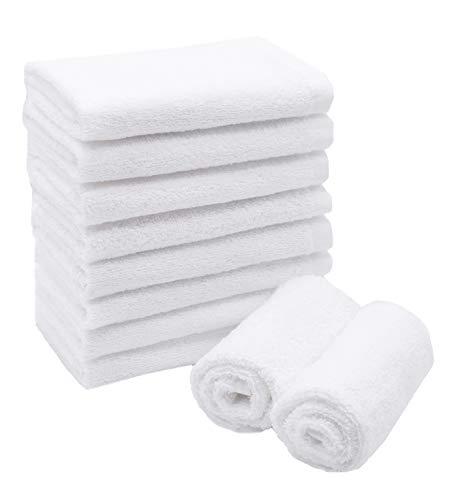 ZOLLNER Juego de 10 Toallas para la Cara de algodón, 30x30 cm, Blancas