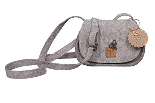 NATURE FIT Trachtentasche, Dirndltasche, Wies`ntasche, Filztasche aus Wollfilz/Filz, Accessoires aus Kokosnuss, Handmade & Design in Bavaria, Farbe Grau