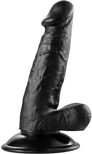 XDHN Länge 17cm Künstliche Naturgetreue D'Ildo Massage-Rods mit Saugnapf Damen Herren Health-Care Sexa Toy T-Shirt Sonnenbrille,Black