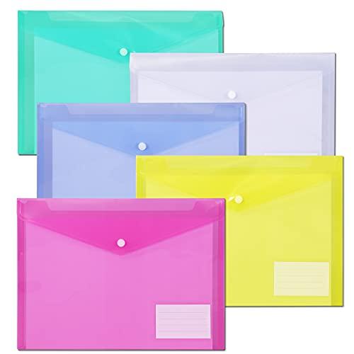 File Folders,Plastic Envelope Folder with Snap Closure,US Letter A4 Size Poly Envelopes with Label Pocket,Folders for Documents,Assorted Color,10 Pack…