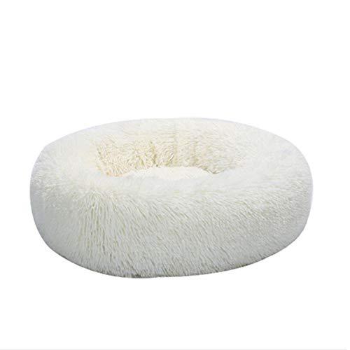 QWERTYU Katzenbett Weiche Bequeme Hundehütte Haus Winter Warme Runde Waschbarer Schlafsack Welpe Tragbare Matte Haustierbedarf, Weiß, S.