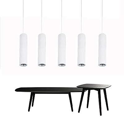 LAGPOUSI 7W LED Modern Pendant Lights Long Tube Black Pendant Lamp Island Bar Counte Shop Room Kitchen Light fixtures hanglamp luminaire (2700K, 2.4 in(60mm) White)