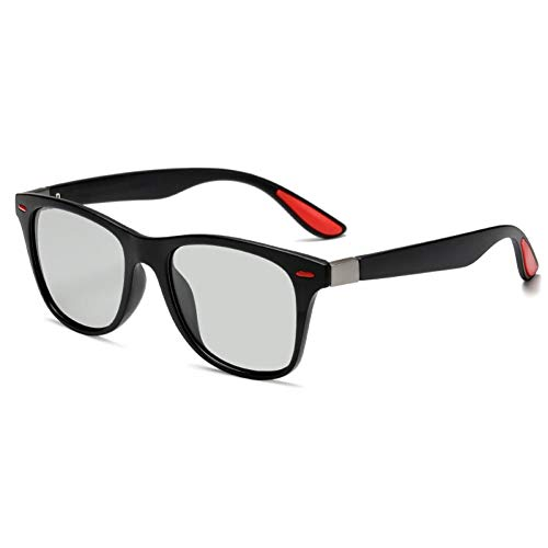 SHENY Gafas De Sol Fotocrómicas Polarizadas Clásicas Hombres Remache Conducción Cuadrado Cambiar Color Gafas De Sol Gafas De Decoloración Masculina Uv400 Decoloración Negro