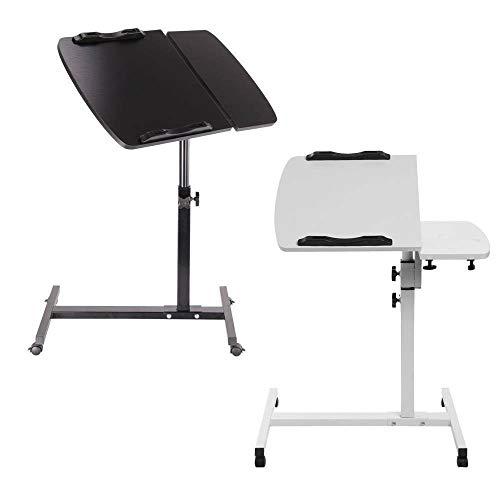 Mesa de escritorio móvil para ordenador portátil, mesa al lado de la mesa de trabajo con ruedas de altura ajustable sobre la mesa para sofá, dormitorio, hogar, dormitorio, sofá, cama, color blanco