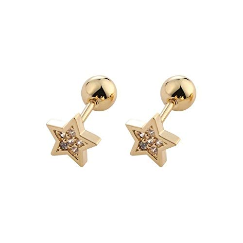 LCHB 1/2 piezas de cartílago Helix Tragus Pendientes de tuerca para oreja, barra de acero y cristal, accesorios de joyería para el cuerpo (color metal: estrella dorada)