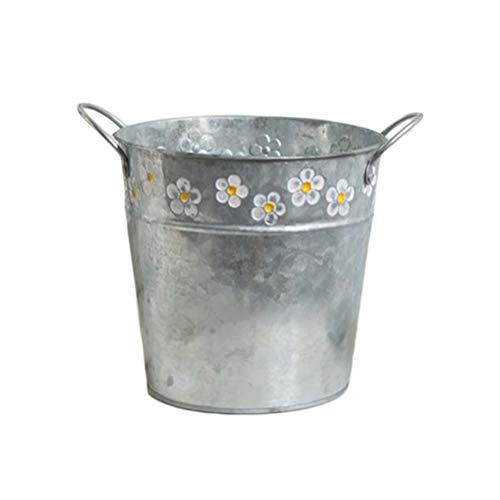 Garneck Blumenkübel aus Metall Vintage Blumenkübel aus Eisen Blumenkübel Balkon für Garten Haus 19,5 x 15,5 x 17 cm Immagine 1
