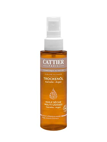 Cattier Trockenöl Argan und Kamelie, mit wertvollen Bio-Ölen, zertifizierte Naturkosmetik, 100 ml