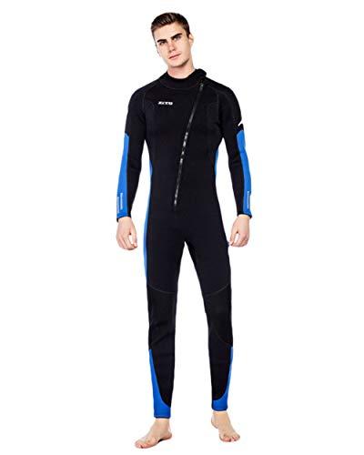 ZCCO 3Mm Premium Neoprene Wetsuit, One Piece Front Zip Full Body Diving Suit for Men/Women-Triathlon, Snorkeling, Scuba Diving, Surfing, Spearfishing,Mens Blue,S