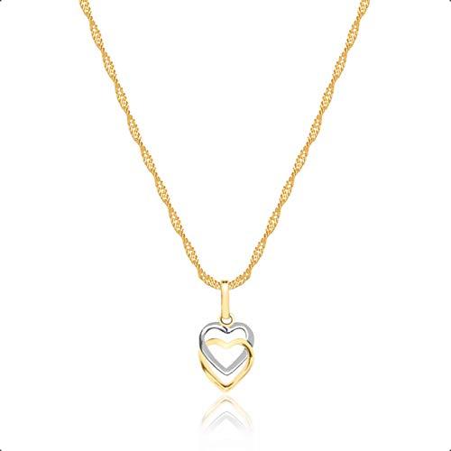 Cordão Feminino Ouro 18k 40cm + Pingente Corações