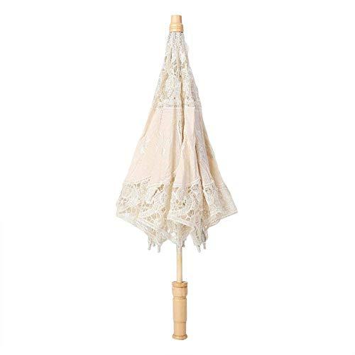 Fdit Sombrilla hecha a mano con encaje, bordado floral, para bodas, novia, fotografía, paraguas de seda, Blanco, large