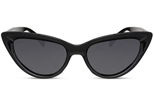 Cheapass Gafas de Sol Cat Eye 3D Frame Negro Brillante con Lentes Oscuras protección UV400 Mujer