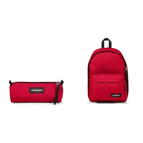 EASTPAK Out of Office Zaino, 44 cm, 27 L, Rosso (Sailor Red) + Benchmark Single Astuccio, 21 cm, Rosso (Sailor Red)