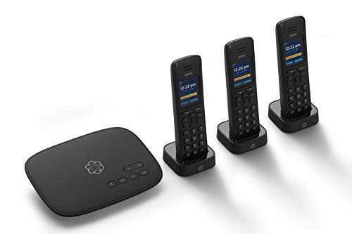 Ooma Telo VoIP Free Internet Home Phone Service with 3 HD3 Handsets. Affordable landline Replacement. Unlimited Nationwide Calling. Answering Machine. Option to Block robocalls.