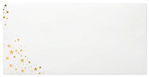 briefumschlaege24Plus 100Buste Natale di DIN lungo 11x 22cm con interno Stampa Oro Rilievo e strisce adesive, grammatura 80G/M²