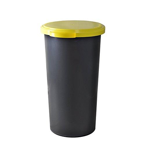 KUEFA 60L Müllsackständer mit flachem Deckel - Gelber Sack Mülleimer (Gelb)