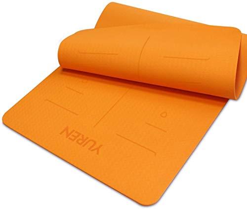 YUREN Yogamatte Gymnastikmatte 80 cm Breit Dick 10mm Pilates Hatha Cardio Lasergeschnitzt Hilfslinien Mandala öko TPE Fitnessmatte inkl Tasche&Gurt