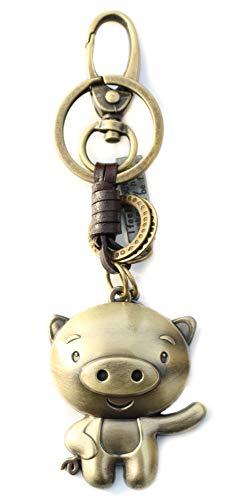 AuPra Funny Pig KeyRing Gift Idea Women Men Leather Home Vintage Animal Lovers KeyChain Mum Dad Novelty Friendship Charm Key Ring Present | Girl & Boy Cute Best Friend Mini Pendant