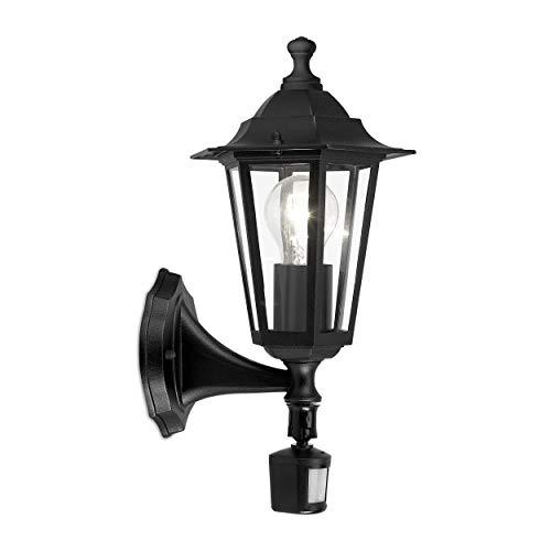 EGLO Außen-Wandlampe Laterna 4, 1 flammige Außenleuchte inkl. Bewegungsmelder, Sensor-Wandleuchte aus Aluguss und Glas, Farbe: Schwarz, Fassung: E27, IP44