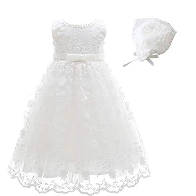 Glamulice Baby-Girls Newborn Satin Baptism Dress Elegant Lace Cap Flower Christening Gown (6-12 Months, Sleeveless Dress & Hat)