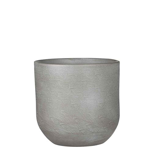 Mica Decorations Nora Pot de fleurs terre cuit rond gris clair 21 x Ø 23 cm - Pot de plante