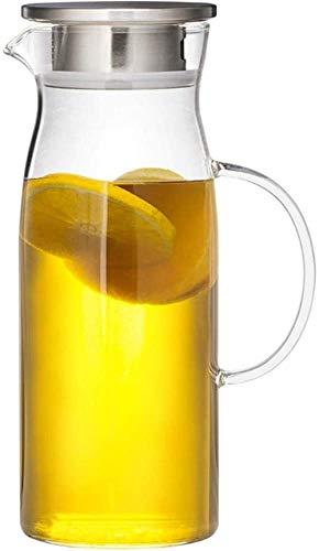 Tetera de cristal El jarro de agua Tetera de cristal con la tapa de la jarra helada de la manija de borosilicato resistente al calor jarra de cristal de té / agua caliente y fría / hielo vino de café