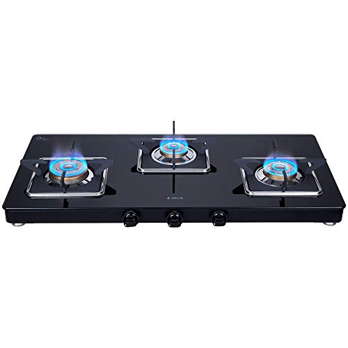 Elica Slimmest 3 Burner Gas Stove with Square Grid and Brass Burner (773 Ct Vetro (Slim Line Spf))
