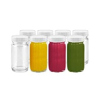 Juice Shot Bottles Set - Wide Mouth for Juicing Beverage Storage Liquids 2 oz Clear Glass with White Caps Reusable Leak Proof Jars  8 pack