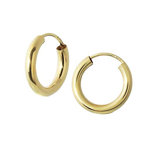 NKlaus SET 2x EINZEL 333 gelb Gold CREOLE Ohrring rund Goldohrring 15mm 40263