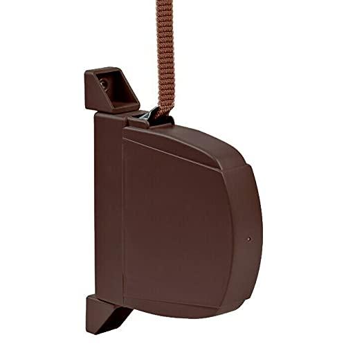 Recogedores de persianas. Mod. Exteriores abatibles de PVC/plástico. Color marrón con Cinta Mini (14mm) a Juego incluida.