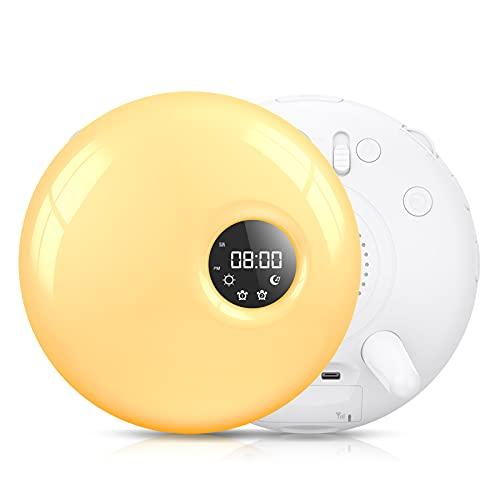COULAX Wake Up Light Lichtwecker Snooze Light Alarm Clock Tageslichtwecker FM Radio 30 Helligkeitsstufen 7 Farben Licht Wecker Wake Up Licht mit 2 natürlichen Weckzeiten und Sonnenaufgangsfunktion
