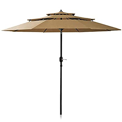 Patiassy 11 Feet 3 Tiers Patio Umbrella Windproof Outdoor Table Market Umbrella for Balcony Garden Deck, Heavy Duty 240 GSM Fabric for 5 Years No Fading