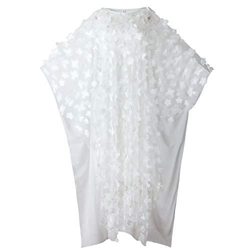 ZWLXY Frauen-zweiteiliges Kleid Maxi Kleid - Lange Hülsen-Blumen Layered Abendkleid Sommer-beiläufige Ferien Urlaub Lockere,Weiß,M