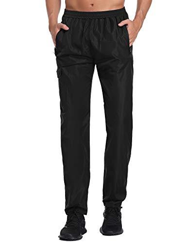 Pantalon de Pluie Femme Homme Pantalon imperméable Étanche Coupe-Vent Résistant Respirant Sport Randonnée Camping Running Ski Hiver Automne - 'Noir-Homme - S