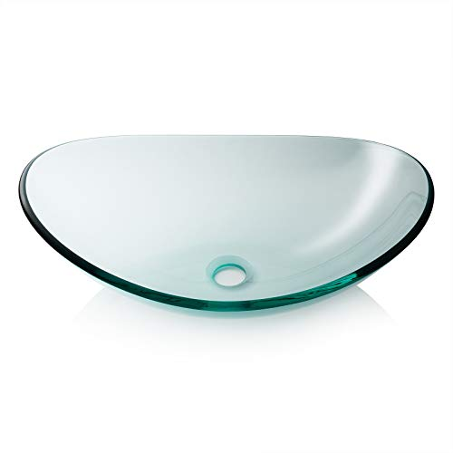 Miligore Modern Glass Vessel Sink - Above Counter Bathroom Vanity Basin Bowl - Oval Boat Clear