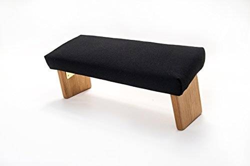 Folding Meditation Bench, Angled Legs (Organic Cotton Black, Standard)