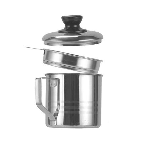 NYKK Coladores Cocina 1,2L Pote de Acero de Acero Inoxidable Duradero y fácil de Usar Pote de contenedor portátil Almacenamiento Que Contiene Filtro de Aceite de Aceite Colador