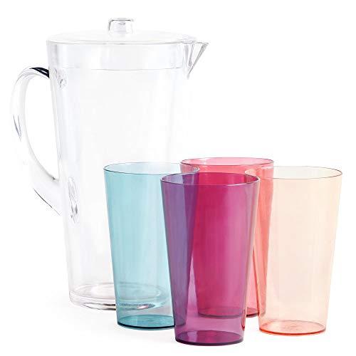 VonShef Jarra de Agua de 1,7L con 4 Vasos - Jarra Infusora d