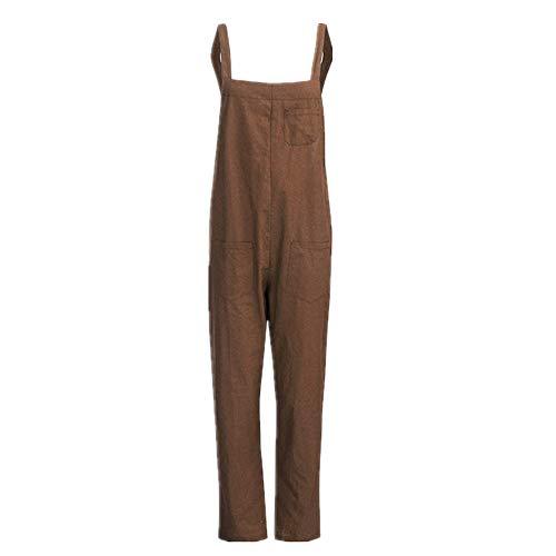 N\P Mono largo sin mangas de mezclilla suelto de algodón y lino para mujer