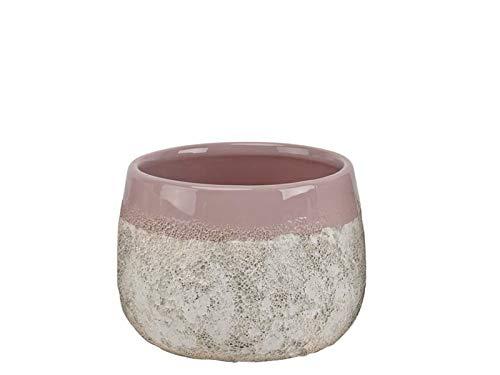 "meindekoartikel Topf ""Tekira"" aus Keramik in Steinoptik (rosa) - Blumentopf Übertopf Dekotopf - Ø 11,5cm x Höhe 9,4cm"