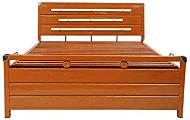 Royal Interiors King Size Metal Bed with Hydraulic Storage in Double Color Finish(2002, Metal)