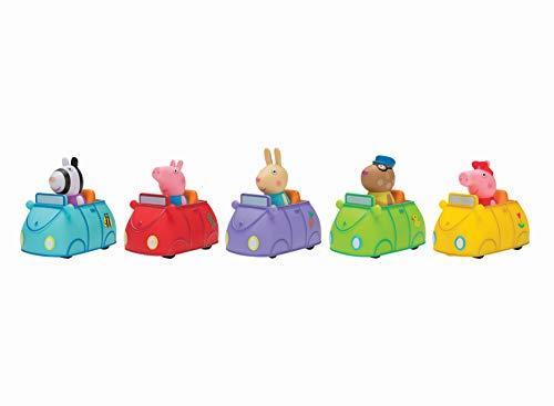 Jazwares PEP0603 - Peppa Wutz Mini Flitzer 5er Pack, mit Peppa, Schorsch, Luisa, Pedro und Pedro in bunten Autos, Set mit Spielzeugautos, Original Peppa Pig Spielzeug Fahrzeuge für Kinder ab 2 Jahren
