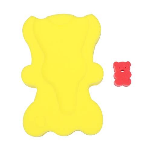 HEALLILY Cojín de Esponja de Baño Infantil Alfombrilla de Baño de Dibujos Animados Almohadilla de Baño Antideslizante para Bebé Recién Nacido (Amarillo)